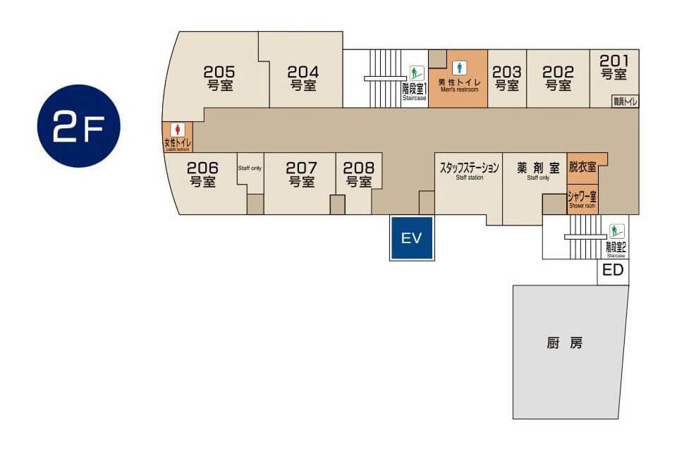 東京国際大堀病院2階フロアマップ