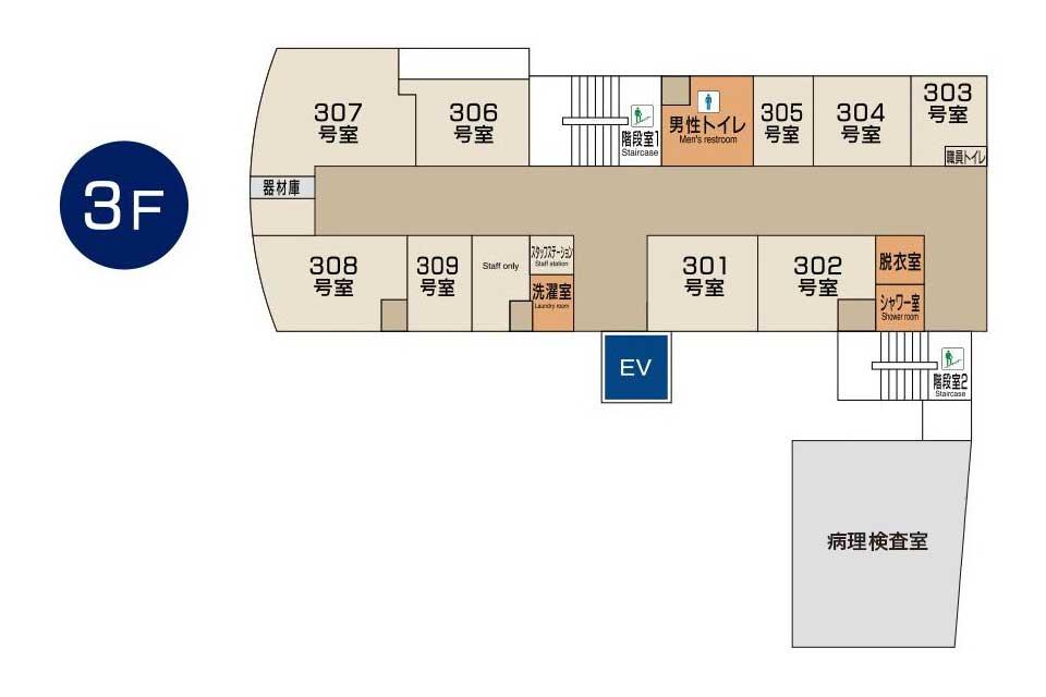 東京国際大堀病院3階フロアマップ