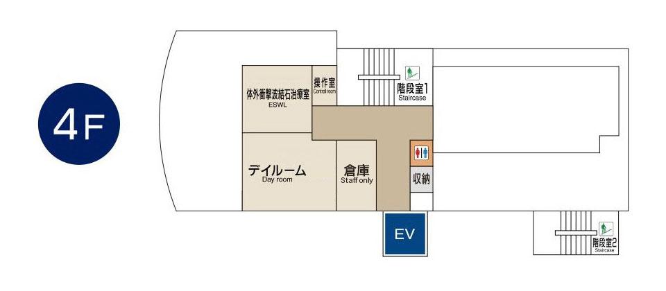 東京国際大堀病院4階フロアマップ