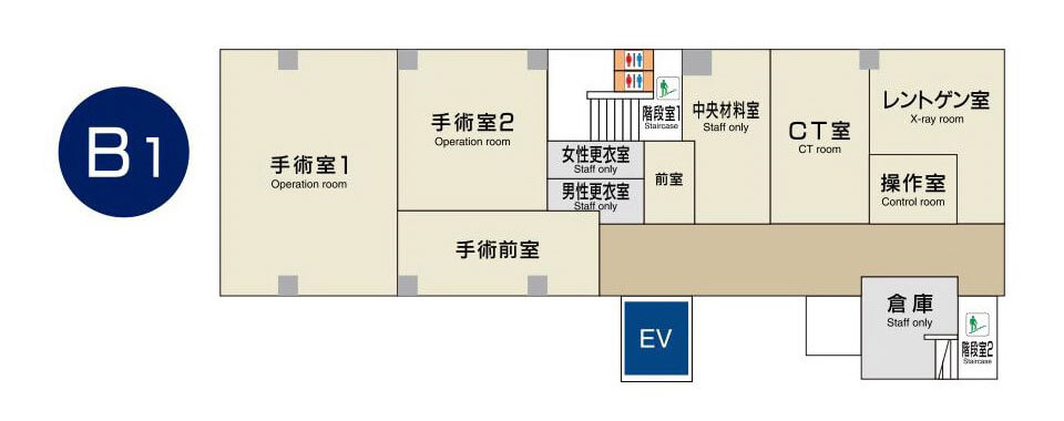 東京国際大堀病院地下1階フロアマップ
