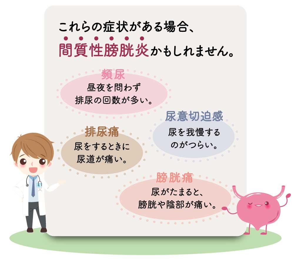 これらの症状がある場合、間質性膀胱炎かもしれません。