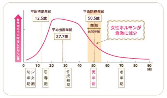 年齢別に見るエストロゲン(卵胞ホルモン)の増加