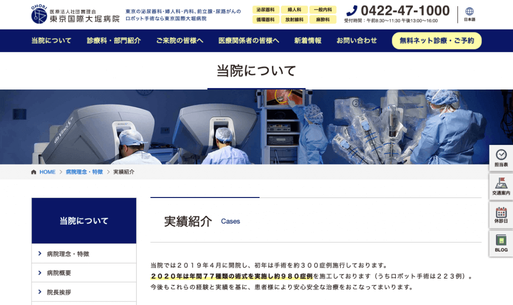 東京国際大堀病院手術実績