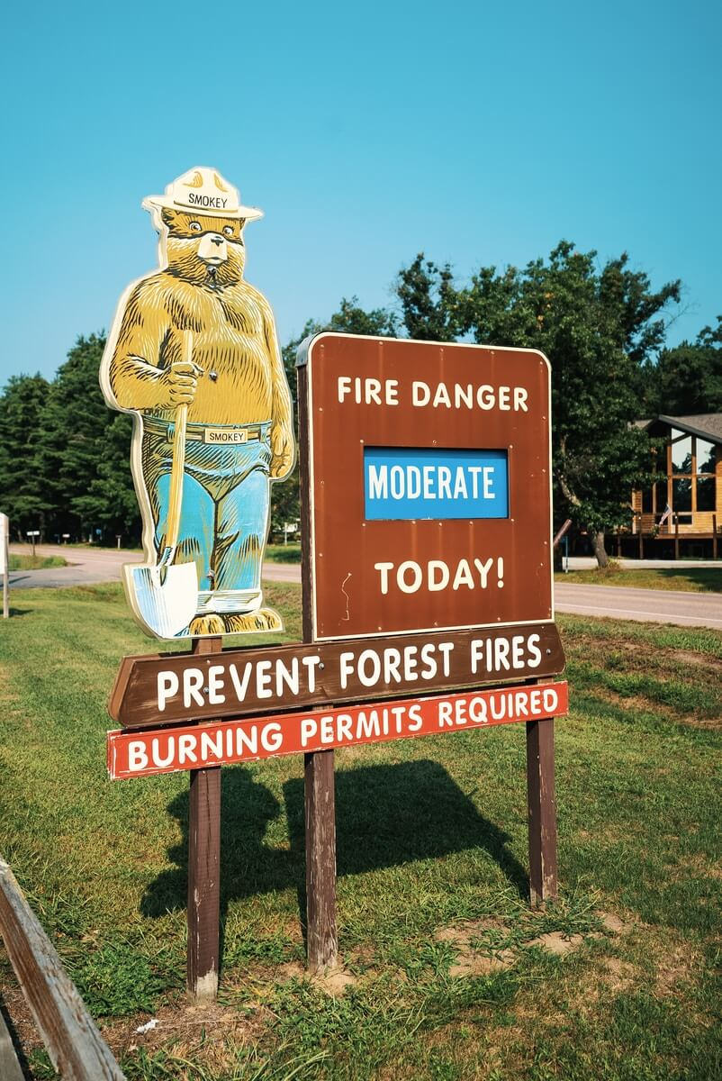 fire danger moderate today signage